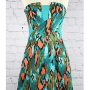 Anthropologie Strapless Dress Ikat Tribal Print